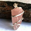 22 ct Pink Morganite Crystal in Sterling Silver Pendant Art Wrap Necklace