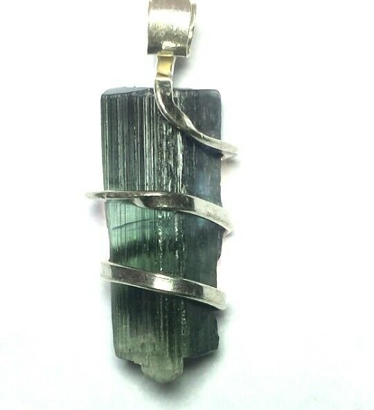 13.20 Carats Natural Paraiba Tourmaline Crystal in Silver Wire wrap Art Necklace