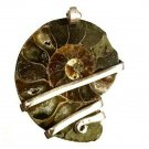 45 ct Sterling Silver Wire Wrap Pendant Ammonite Crystal,Necklace