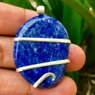 120.60 ct Sterling Silver Wire Wrapped Pendant  Lapis Lazuli Necklace