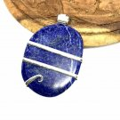 72 ct Sterling Silver Wire Wrap Pendant Lapis Lazuli Crystal Necklace