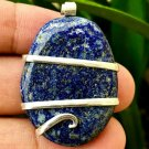 94.00 ct Sterling Silver Wire Wrap Pendant Lapis Lazuli Crystal Necklace