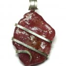 11.90 ct Natural Rough Ruby Crystal in Sterling Silver Pendant Wrap Necklace