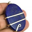 91 ct Sterling Silver Wire Wrap Pendant Lapis Lazuli Crystal Necklace Birthstone