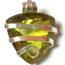 12.00 ct Sterling Silver Wire Wrap Pendant W/ Quartz Gem Jewelry