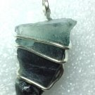 21 carat Sterling Silver Wire Wrap Pendant W/ Blue Cap Tourmaline Crystal