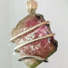 15.80 ct Watermelon Tourmaline Crystal in Sterling Silver Art Wrap Pendant