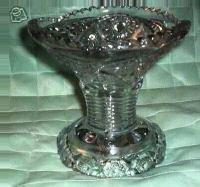 Punch Bowl Pedestal Threaded Hobstar Pattern~