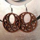 2pc/lot dangle/wire-hook type wooden earrings (diam: 50mm)