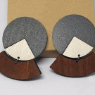 2pcs/lot stud type wooden color earrings (55mm x 45mm)