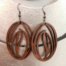 2pcs/lot dangle/wire-hook type wooden earrings (55mmx45mm)