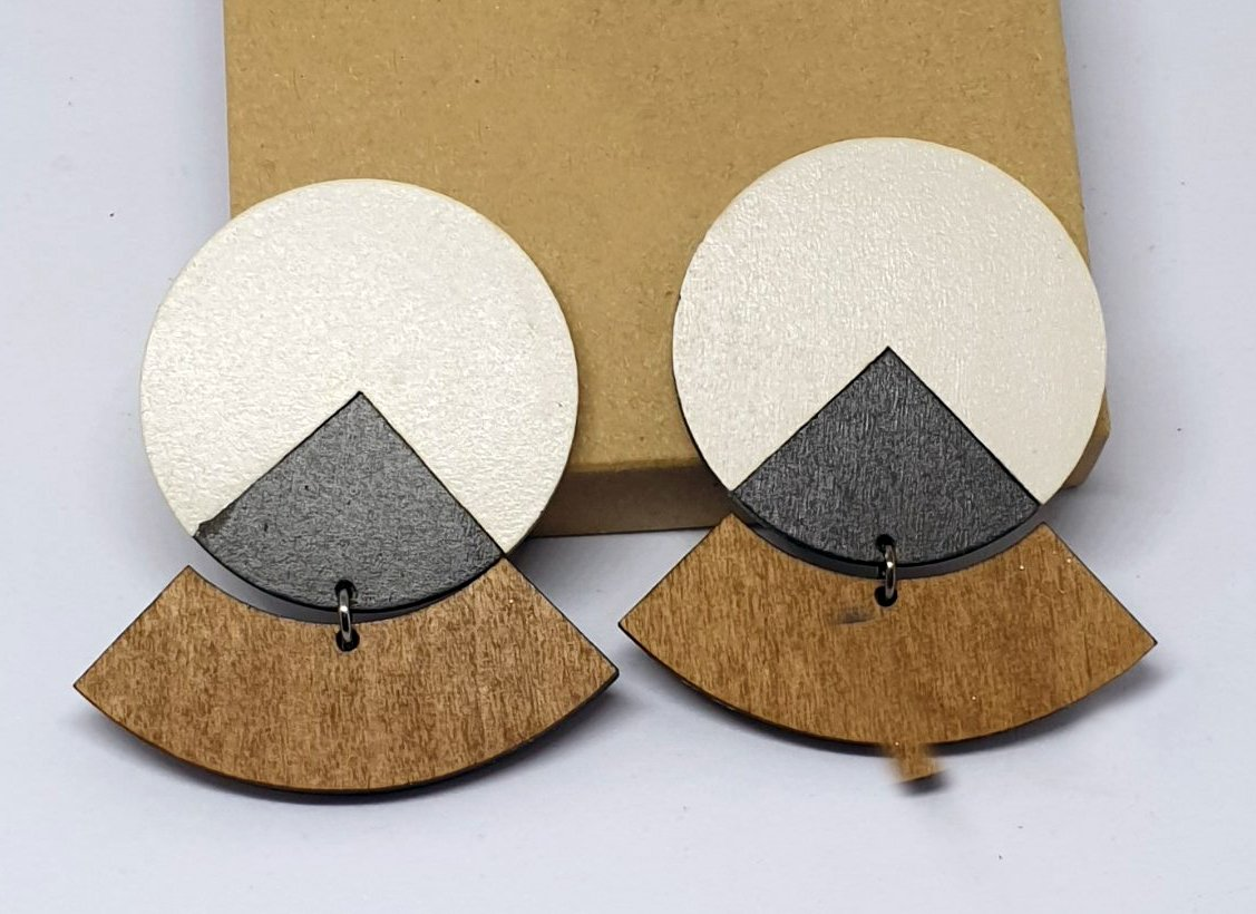 2pcs/lot stud type wooden color earrings (55mmx45mm)