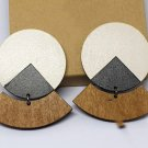 2pcs/lot stud type wooden color earrings (55mmx45mm)