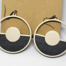 2pcs/lot dangle/wire-hook type wooden color earrings (diam: 50mm)