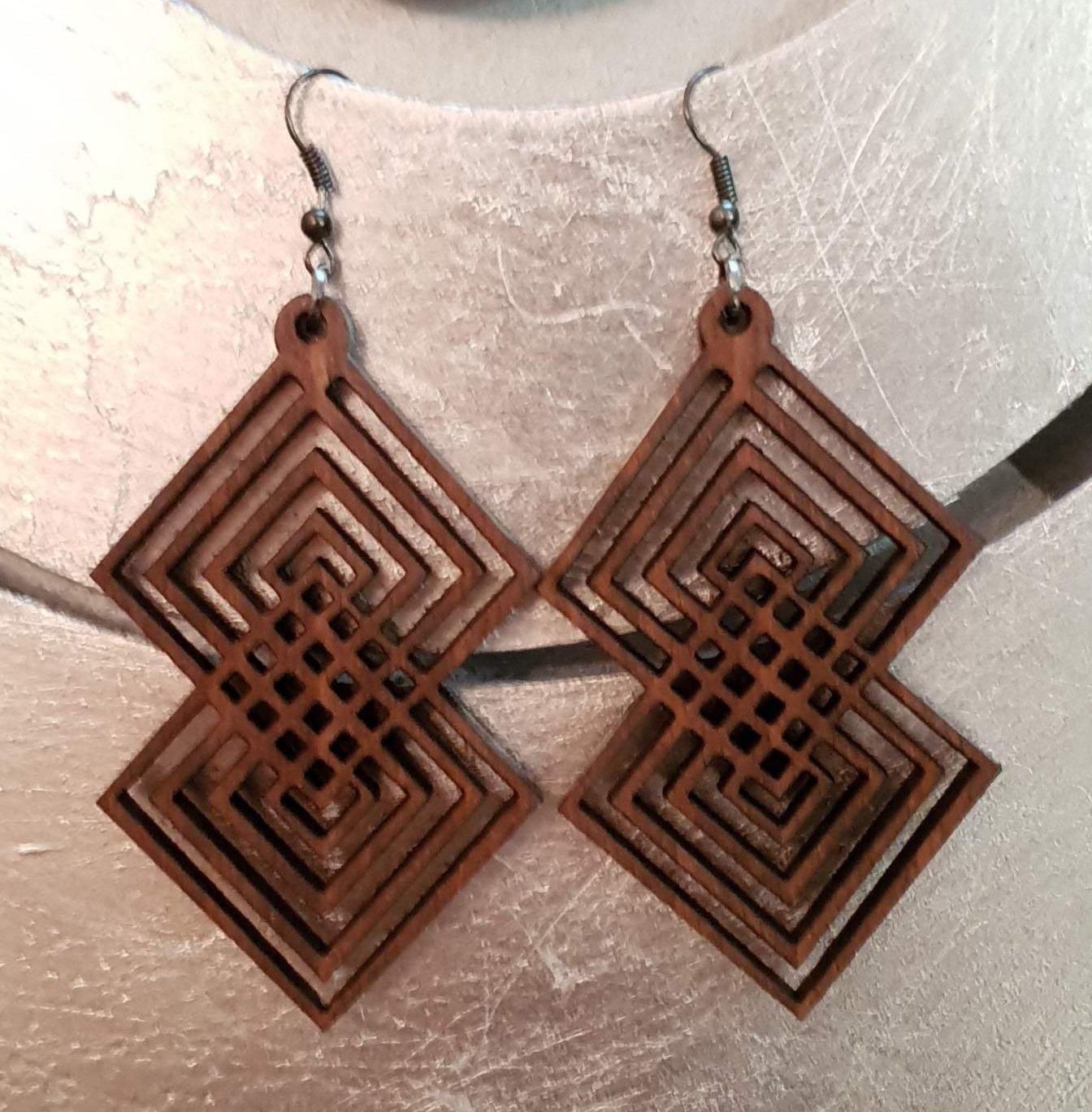 2pcs/lot dangle/wire-hook type wooden color earrings (55mm x 40mm)