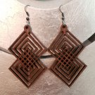 2pcs/lot dangle/wire-hook type wooden color earrings (55mm x 40mm)