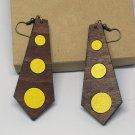 2pcs/lot dangle/wire-hook type wooden color earrings (65mm x 25mm)