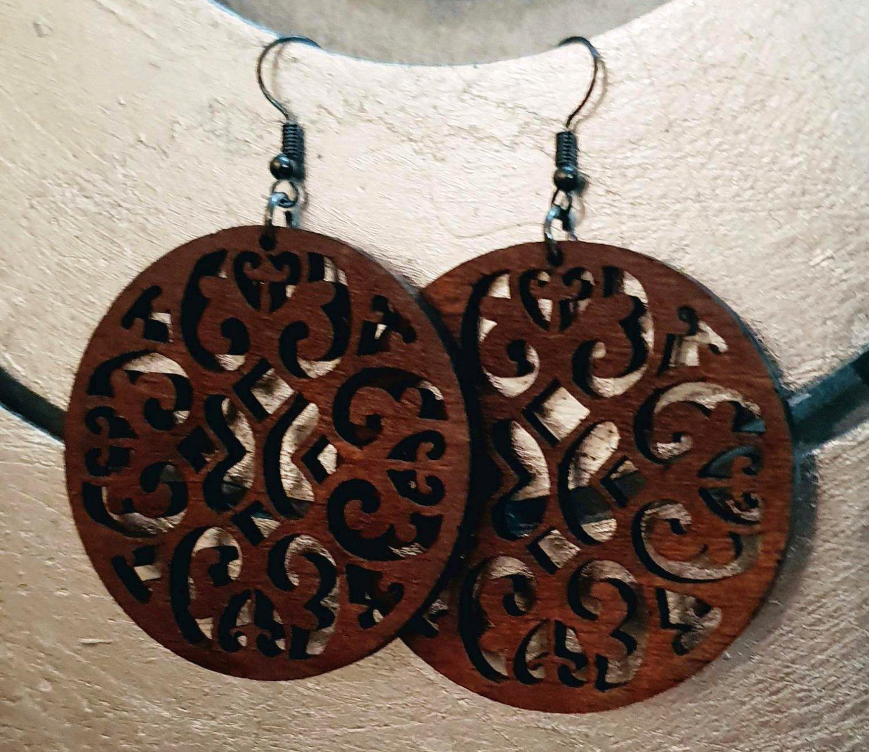 2pcs/lot dangle/wire-hook type wooden earrings (diam: 50mm)