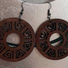 2pcs/lot dangle/wire-hook type wooden earrings (diam: 50mm)