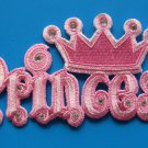 Iron-on embroidered patch Princess pink with rhinestones 4.75 inch