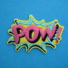 Self-adhesive sticker embroidered iron-on patch POW yellow pink 3.25 inch