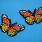 2 pcs Self-adhesive sticker embroidered patch Butterfly Monarch orange pair 3 inch
