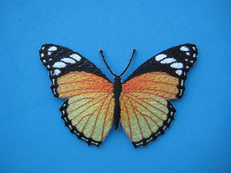 Self-adhesive sticker embroidered patch Butterfly orange 3 inch