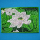Magnet embroidered patch Lotus Flowers green pure pink pond 3.9 inch
