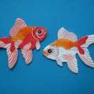 Set of 2 pcs Iron-on embroidered patch Fancy Goldfish pink orange white 2 inch