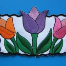 Iron-on/ sew-on embroidered patch Tulip flower colorful 4.75 inch