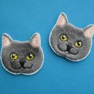 2 pcs Self-adhesive sticker embroidered patch British Shorthair cat kitten face head grey 1.5 inch