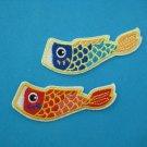 2 pcs set Self-adhesive sticker embroidered patch Fish Flag japan koinobori 2.9 inch