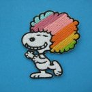 4 x Iron-on/ Sew-on embroidered Patch applique Jumbo Wig Rainbow Snoopy