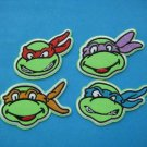Set of 4 pcs ron-on/ Sew-on embroidered Patch applique Ninja Turtles Head Face