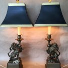 Fine Art Antique  French  Colonial Lion Pair Lamps  Bronze  From Dubai Yacht
