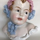 ANTIQUE RARE CARL THIEME DRESDEN PORCELAIN 19c BUST OF BABY GIRL FIGURINE SCULPTURE