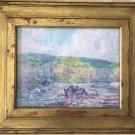 Sigurd Skou 19th Century Impressionist Canvas On Wood Panel Oil Painting