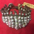 Uno De 50 Beaded Silver Leather Bracelet