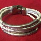 Uno De 50 Silver Beige Leather 4 String Bracelet