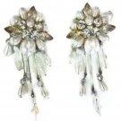 Antique Vintage Faux Pearls Rhinestones Clear Crystal Clip Earrings
