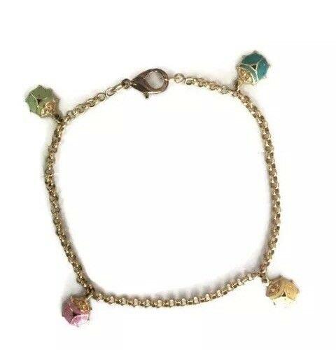 Vintage Retro Lady Bugs Enamel Gold Plated Richard Krementz Gemstones GHR Designers Bracelet