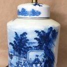 Antique  Fine Art  Lamp Japanese Hand Painted White Blue Porcelain