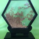 Vintage Chinese Carved Pagoda And Storks In Glass Sexagonal Case On Stand