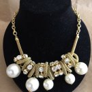 Vintage Rhinestones & Faux Pearls Gold Plated Necklace