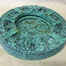 ANTIQUE ASHTRAY GREEN MALACHITE AZTEC MAYAN CALENDAR HAND MADE