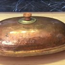 ANTIQUE SERVING DISH PLATTER COOKING LID FISH SEAFOOD OVAL HAMMERED COPPER BRASS