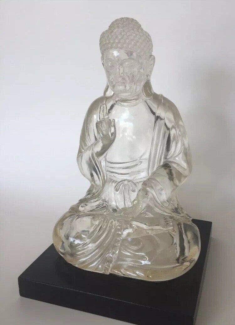 VINTAGE LUCITE SITTING BUDDHA STATUE FIGURINE SCULPTURE FINE ART
