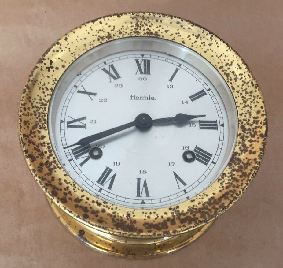 VINTAGE HERMLE SHIP CLOCK WEST GERMANY DOUBLE WINDING 1945s MARITIME NAUTICAL