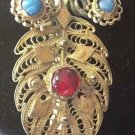 ANTIQUE BROOCH PIN TURQUOISE GARNET GOLD PLATED FILIGREE GEORGIAN ORIGINAL