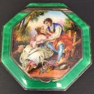 ANTIQUE POWDER COMPACT HAND PAINTED GUILLOCHE ENAMEL STERLING SILVER AUSTRIA
